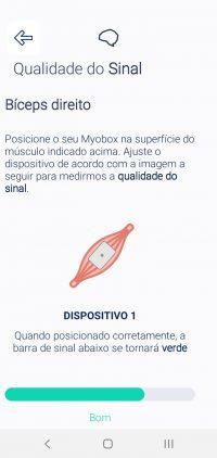 12.4 Posicione o Myobox que estiver piscando mais rápido no primeiro músculo